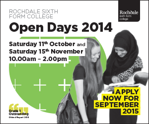 Rochdale Sixth Form College Open Days 2014. Saturday 11 October and Saturday 15 November 10am - 2pm. Apply now for September 2015.