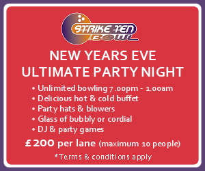 Strike Ten Bowl. NEW YEAR'S EVE ULTIMATE PARTY NIGHT. Unlimited bowling 7.00pm - 1.00am. Delicious hot & cold buffet. Party hats & blowers. Glass of bubbly or cordial. DJ & party games. All this for just £200.00 per lane (maximum 10 people)