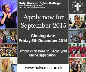 Holy Cross Sixth Form College. Apply now for September 2015. Closing date Friday 5 December 2014.