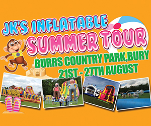 Inflatable Summer Tour. Burrs Country Park, Bury 21 August - 27 August from 10.30am every day. We have an assault course, obstacle courses, slides, mega slides, castles and much more.