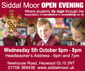 Siddal Moor Open Evening. Where students fly high through the expectation of excellence in everything we do. Wednesday 5th October 6pm - 8pm. Headteacher's address 6pm and 7pm. Newhouse Road, Heywood OL10 2NT 01706 369436