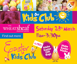 Kids Club at The Wheatsheaf. Saturday 28 March from 11am until 3.30pm. Make Easter gift bags and masks to take home and use on the big day. It's free