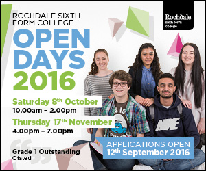 Rochdale Sixth Form College Open Days 2016. Saturday 8 October 10am - 2pm and Thursday 17 November 4pm - 7pm. Apply now for September 2017.