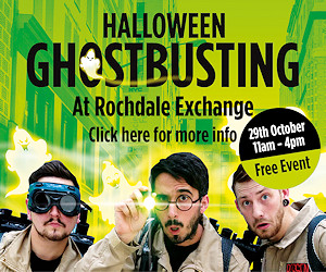 Halloween Ghostbusting at Rochdale Exchange. Friday 29 October 11am - 4pm. Free event.