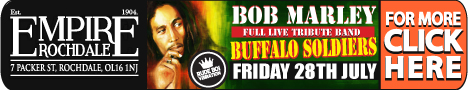 Bob Marley tribute. 28 July 2017. Empire Rochdale