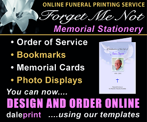 Online funeral printing service. Forget Me Not Memorial Stationery - Order of Service, Bookmarks, Memorial Cards & Photo Displays. You can now design and order online using our templates.