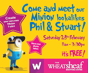 Come and meet our Minion lookalikes Phil & Stuart! Saturday 28th February, 11am - 3.30pm at The Wheatsheaf Shopping Centre