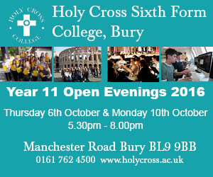 Holy Cross Sixth Form College, Bury. Year 11 Open Evenings 2016. Thursday 6th October & Monday 10th October. 5.30pm - 8.00pm. Manchester Road, Bury BL9 9BB. 0161 762 4500.
