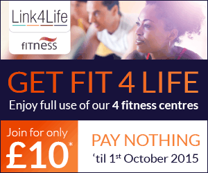 Get fit 4 life. Enjoy full use of our 4 fitness centres. Join for only �10. Pay nothing til 1 October 2015