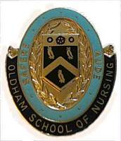The Oldham School of Nursing badge.