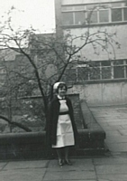 Sister Brearley outside C1 ward.