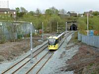 Tram 3016 on training duties leaves Werneth Tunnel and heads for Queens Road.  (Photo courtesy R Clarke)