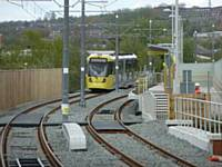 Tram 3003 travels outbound from Freehold stop towards Oldham Mumps on Monday 14 May 2012. (Photo R Clarke)