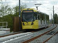 Tram 3003 leaves Freehold for South Chadderton on Monday 14 May 2012  (Photo R Clarke).