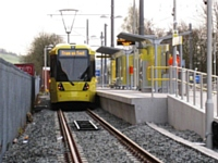 An unidentified series 3000 tram at the bay platform at Shaw and Crompton stop on Thursday 6th December 2012.  Photo Tony Young