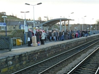 Festive passengers await the 'Mince Pie Special' on Sunday 9th December at Littleborough Station.  Photo S Carmichael