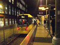 The first passengers arrive at Shaw and Crompton on Sunday 16th December 2012 at 07:00.  Photo P Jones