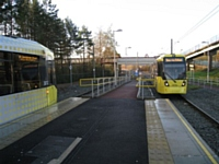Tram 3033 arrives at Oldham Mumps (temporary stop) with 'Shaw via Oldham'  on the destination display.  Photo T Young