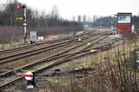 Castleton East Junction semaphore signals viewed from Castleton Station on 9 February 2013.  Photo R S Greenwood