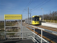 Tram 3006 arrives at Kingsway Business Park from Rochdale en route to St Werburgh's Road in Chorlton on 28/02/13. Photo T Young