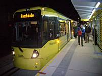 Metrolink Tram number 3016 at Rochdale Railway Station stop, the first arrival in service tram on Thursday 28 February 2013.  Photo R S Greenwood