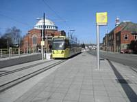 Tram at the Rochdale Railway Station stop on 28 February 2013.  Photo J Dillon
