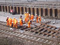 A view from the Manchester Road bridge of the track work at Castleton East Junction on 31st March 2013.  Photo R S Greenwood