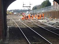 A view from the Rochdale bound platform at Castleton station of the track work on 31st March 2013.  Photo R S Greenwood