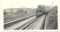 A Caprotti 5 on Walkden water troughs with Liverpool or Southport train in 1963. Photo M Riley.