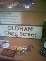 An original, LNER-style, station lamp tablet name from Oldham Clegg Street.