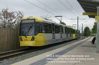 Driver training on Tuesday 21 May 2013 with double trams prior to opening of East Didsbury section on Thursday 23 May 2013.  Photo R Clarke.