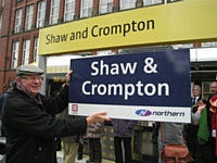 Photo 4 the old and new Shaw and Crompton name boards.  Photo Tony Young.