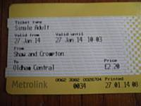 The first ticket from Shaw and Crompton to Oldham Central for 40 years 27 January 2014.  Photo J Dillon