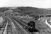 2 x 3 car class 110 with original front whiskers at Hall Royd Junction, Todmorden on 17 July 1965. I Holt