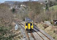 Photo 1 156421 crosses over at Stansfield Hall Junction 10 March 2015.  Alwyn Smith