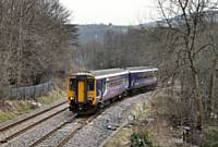 Photo 2 156421 leaving the Todmorden Curve at Stansfield Hall Junction 11th March 2015 Alwyn Smith