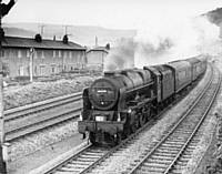 Royal Scot 46130 of Mirfield shed on Whit Monday 11 June 1962 at Mytholmroyd.  R S Greenwood