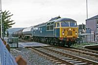 a class 56 tanks train at Smithy Bridge 19 August 1985 RS Greenwood