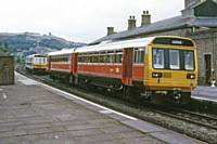 A class 142 Pacer and 141 at Todmorden on 19 August 1985. RS Greenwood