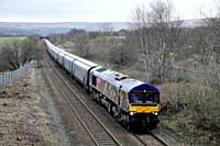66718 with the 1057 Drax Aes-Tuebrook 4M51. Belfield Mill Lane, 1346 19.02.2016. Alwyn Smith.