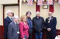HEYWOOD 175. Rochdale's Mayor and Mayoress. ELR President Pete Waterman, Keith Whitmore, Councillor Billy Sheerin and Frank Salt of STORM at the unveiling of the commemorative plaque. Russ Clarke.