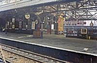 Rochdale Station in 1968 the up main West bound platform viewed  from the down platform.  RS Greenwood
