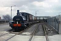 P7. Pug 51218 shunting at Brown & Polson, cornflour millers Trafford Park, Manchester circa 10 April 1967. RS Greenwood