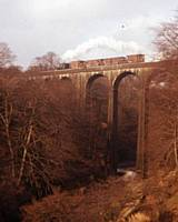 P 5. Pug 51218 on the famous Healey Dell Viaduct on the Rochdale to Bacup line Sunday 19 February 1967. RS Greenwood