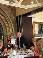 President Sue gives our cheque to her charity of the year Remap at our Charity Lunch at Nutters May 2018