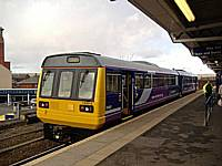 On March 3rd 2008, 142012 stands at Rochdale Station forming the 1532 to Manchester Victoria via Oldham.  Alwyn Smith