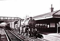 Former LM&SR 2-6-0 43114 in charge of the 9.05 a.m. Manchester Victoria-Wakefield stopping train at Castleton in 1959.  Richard S. Greenwood