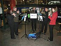 The Northern Rail Brass Ensemble playing on Victoria's Platform 1 before the departure of the final Oldham Loop train on October 3rd 2009.  Tony Young.