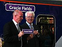 Gracie's nephew Dougie Wakefield receives a replica nameplate from Northern's Lee Wasnidge after performing the naming ceremony on October 3rd 2009.  Susan J. Smith.