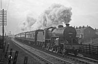 Photo R1 42840  Saturdays Only Manchester Victoria to Wakefield near Rochdale East Junction, Belfield, 9th Jan 1960. RS Greenwood